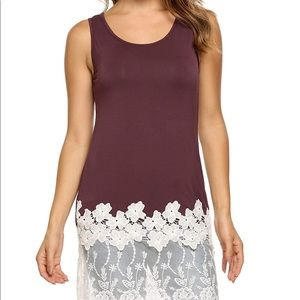 Tops - 🌷Zeagoo Tank Top with Lace Bottom Wine Red L